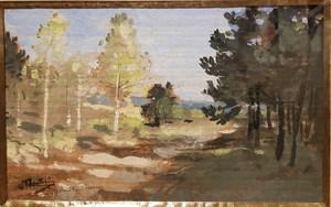 Pierre Eugène MONTEZIN - Dibujo Acuarela - Chemin  ensoleillé