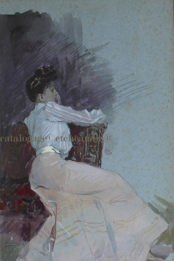 "Ulpiano CHECA Y SANZ - Drawing-Watercolor - ""Señorita sentada"" II» Demoiselle assise  II"