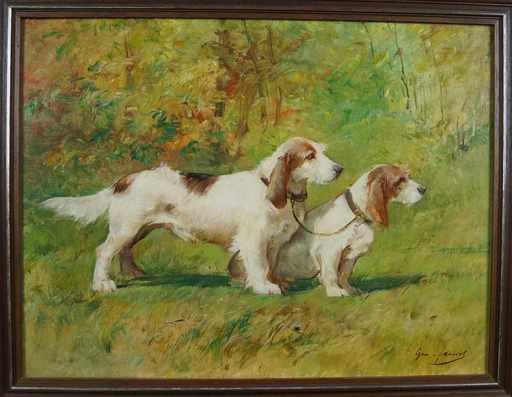 Georges Henri FAUVEL - Peinture - Chiens de chasse