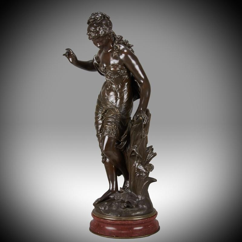 Auguste MOREAU - Miniatura - 'Femme avec Oiseau' Art Nouveau bronze by Auguste Moreau - c