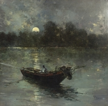 Salvador SANCHEZ BARBUDO - Pintura - NOCTURNO FLUVIAL
