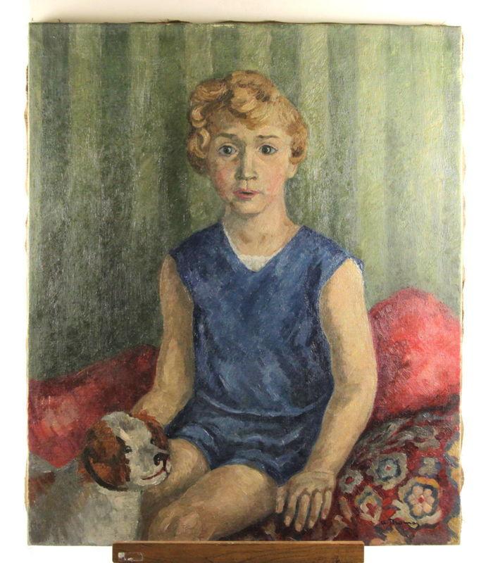 Albert THOMAS - Pintura - Portrait, Junge mit Hund