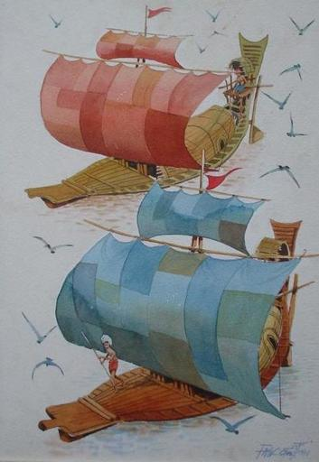 PAW OO THETT - Drawing-Watercolor - Sailing the Irrawaddy