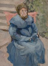 Vladimir Davidovic BARANOV-ROSSINÉ - Painting - An Elderly Woman in a Blue Coat