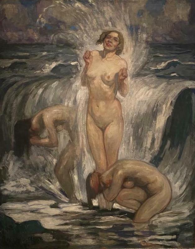 Fernand ALLARD L'OLIVIER - Painting - drie badende vrouwen