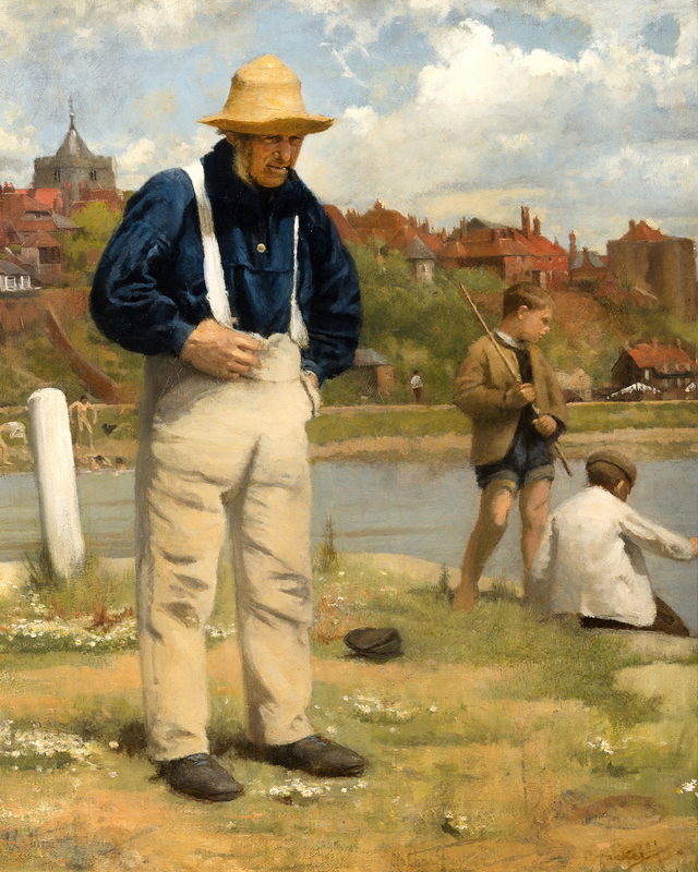 Arthur HACKER - Painting - Fishermen Old and Young