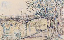 Paul SIGNAC - Drawing-Watercolor - Paris, le Pont des Arts