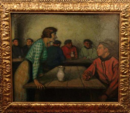 Alberto ARRUE VALLE - Pintura - Arrantzales en la taberna