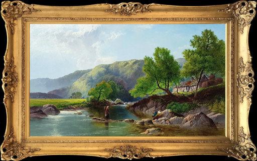 Henry John BODDINGTON - Painting - Stepping Stones