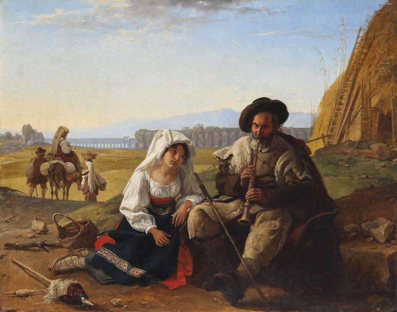 Franz Ludwig CATEL - Pittura - Alter Pifferaro mit einer der Musik lauschenden jungen Frau.