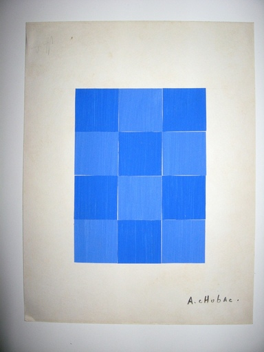 Albert CHUBAC - Dibujo Acuarela - COMPOSITION BLEUE