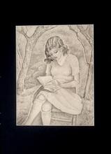 Marie Vorobieff MAREVNA - Dessin-Aquarelle - Pointillist style portrait of a Girl reading