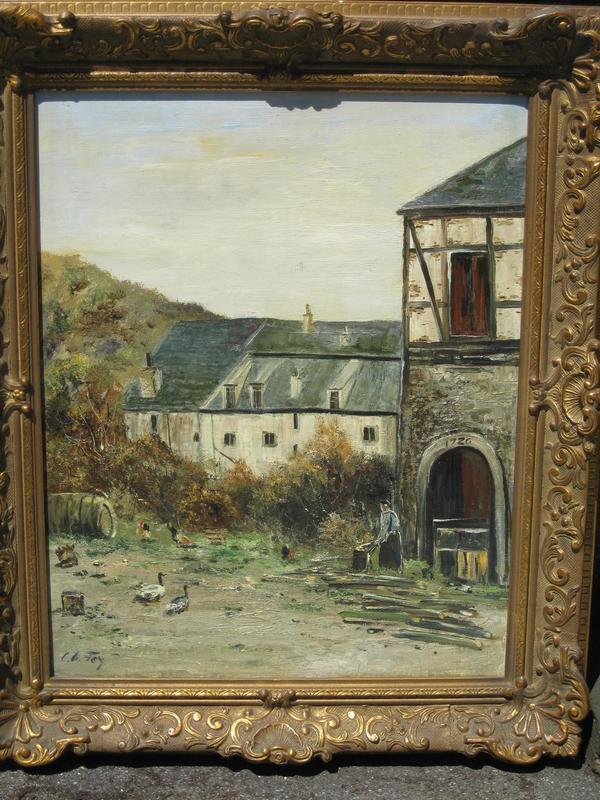 C.O. FEY - Pintura - Bauernhof mit Tieren