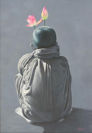 Aung Kyaw HTET - Pintura - Lotuses