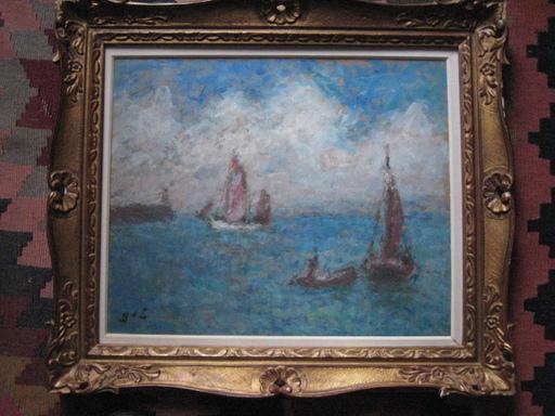 Georges D'ESPAGNAT - Gemälde - LES VOILIERS AU PORT D HONFLEUR