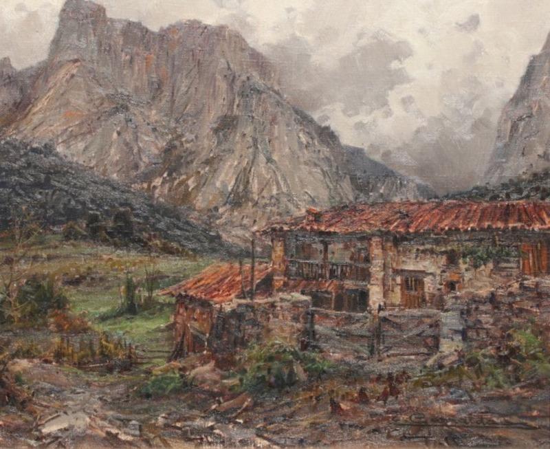 Elías GARRALDA ALZUGARAY - Painting - Casa de Lebeña (Picos de Europa)