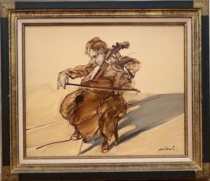 Claude WEISBUCH - Peinture - La concentration du violoncelliste