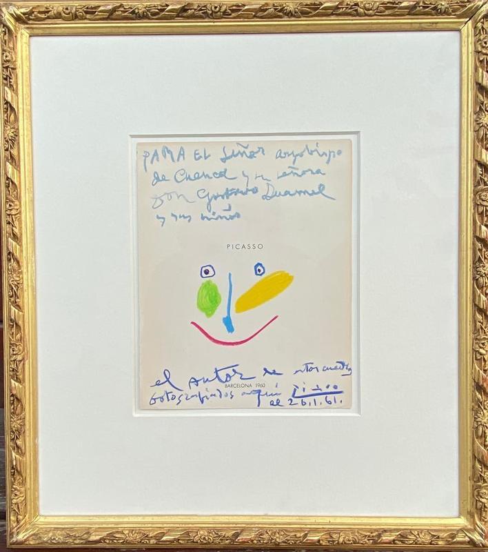 Pablo PICASSO - Drawing-Watercolor - Tête colorée
