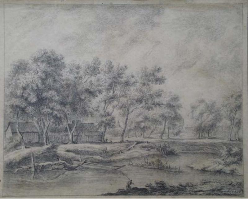 """Franz MIRWALD - Zeichnung Aquarell - """"By the Village Pond"""""""