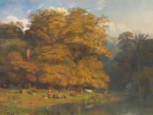 Paul HUET - Pintura - Paysage animé au bord d'un étang