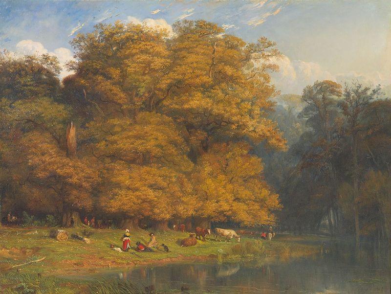 Paul HUET - Gemälde - Paysage animé au bord d'un étang