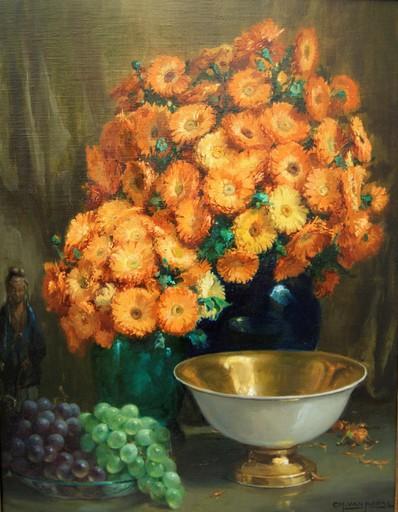 Charles VAN ROOSE - Painting - Bouquet de fleurs, statuette Chinoise, raisins