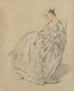 Nicolas LANCRET - Dessin-Aquarelle - Jeune femme assise, les bras croisés