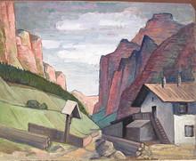 Walter SCHLEPPEGRELL - Painting - Hohe Berge mit Gehöft und Kruzifix