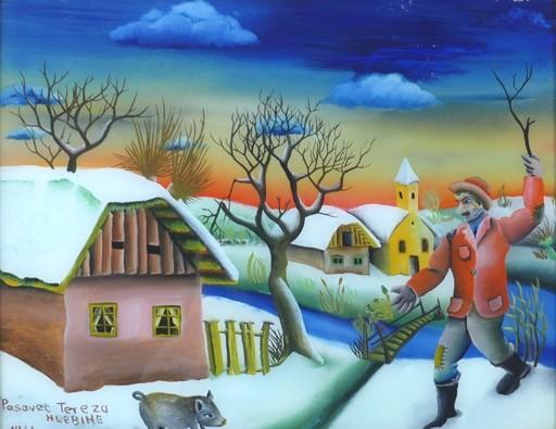 Tereza DOLENEC - Peinture - Dorf im Winter mit Schweinehirt