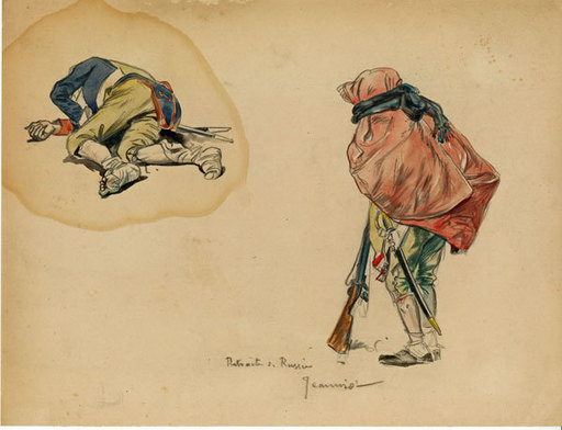 Pierre Georges JEANNIOT - Disegno Acquarello - Retraite de Russie