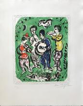 Marc CHAGALL - Estampe-Multiple - Musicians sur fond vert