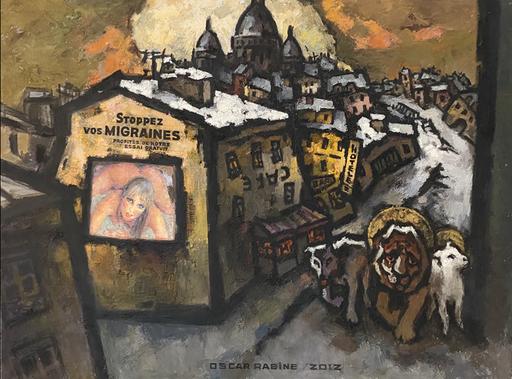 Oskar RABIN - Pintura - MONTMARTRE AVEC LA PUBLICITE CONTRE LA MIGRAINE LE LION LE L