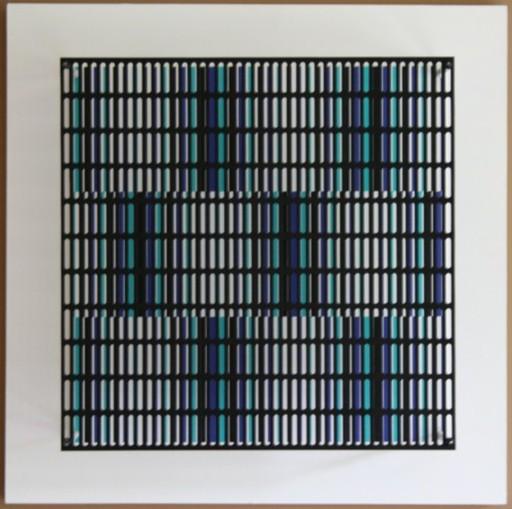 Antonio ASIS - Grabado - vibration bandes noir, bleu et turquoise
