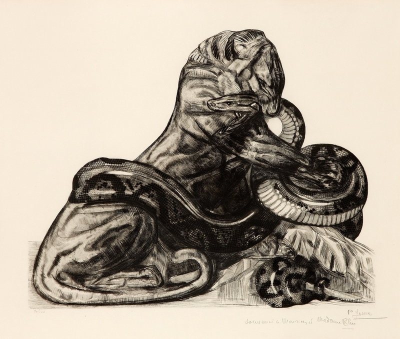 Paul JOUVE - Grabado - Combat de lion et python