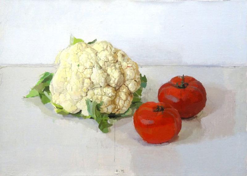 Eduardo MILLAN - Pintura - Coliflor y tomates