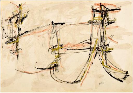 Achille PERILLI - 绘画 - Senza titolo 1957