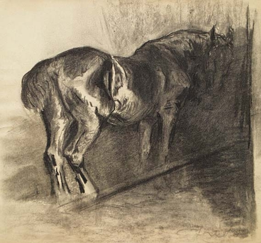 "Ferdinand Karl GOLD - Drawing-Watercolor - ""Study of a Horse"" by Ferdinand Karl Gold"