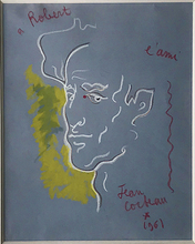 Jean COCTEAU - Drawing-Watercolor - Self Portrait