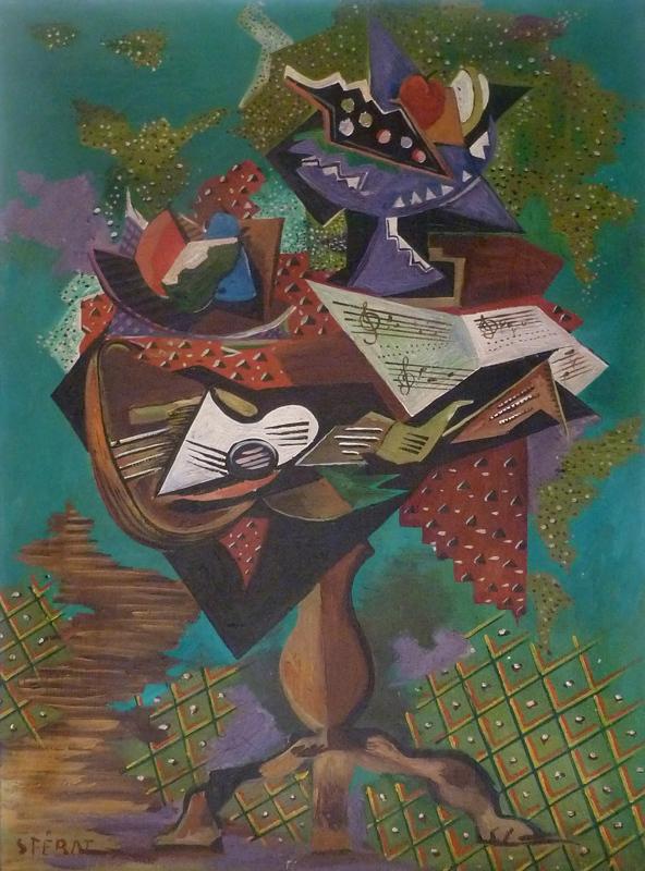 Serge FÉRAT - Painting - Still Life with Guitar on Gueridon