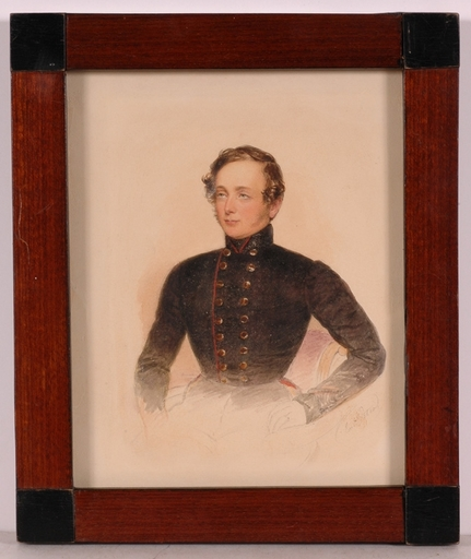 """Emanuel Thomas PETER - Miniature - """"Young Officer"""", Watercolor"""