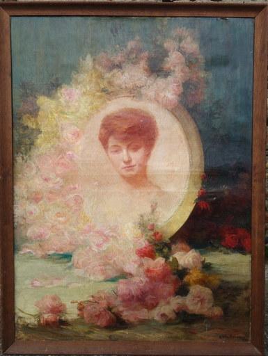 """Achille Théodore CESBRON - Pintura - """"Portrait aux Roses"""""""