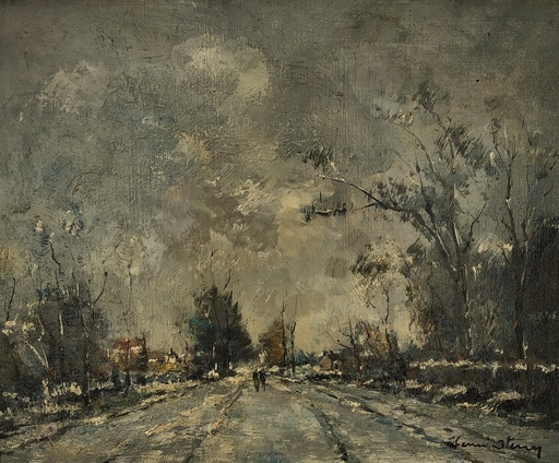 Henri STENN - Painting - Paysage de neige