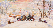 Boris Mikhailovich KUSTODIEV - Painting - Troika in the Snow