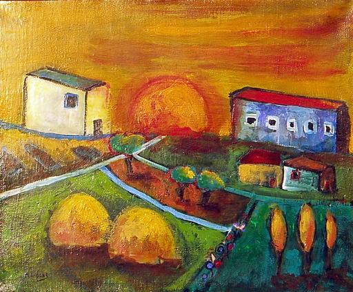 María Antonia DANS - Painting - aldea al aterdecer