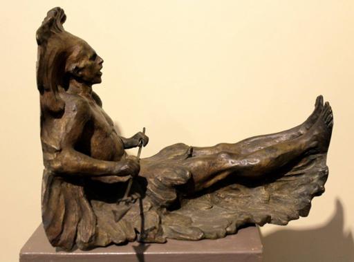 Ettore XIMENES - Escultura - Mensola con indiano