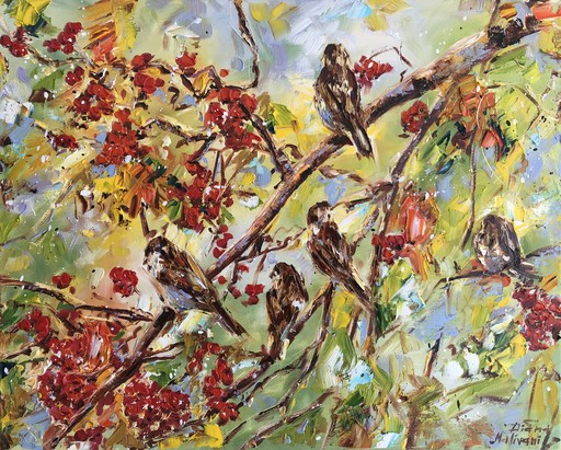 Diana MALIVANI - Gemälde - Sparrows in the Rowan-Tree
