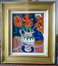 François DESNOYER - Peinture - Tulipes dans un vase