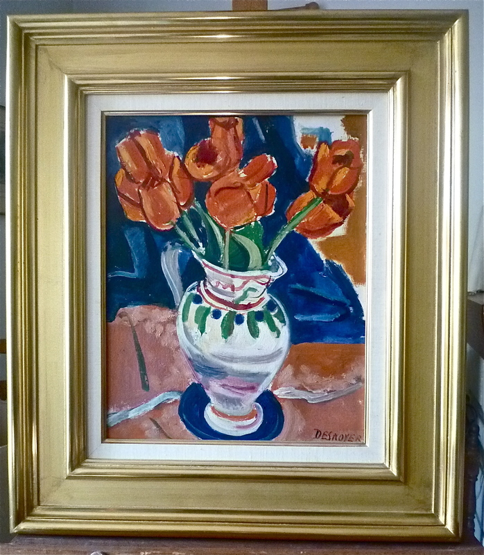 François DESNOYER - Painting - Tulipes dans un vase