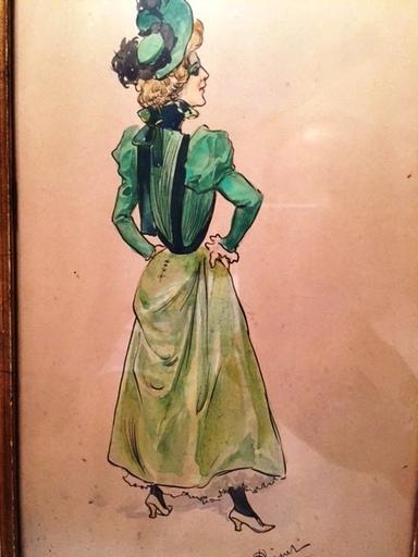 Gustave D. RIQUET - Dessin-Aquarelle - Elegante de dos