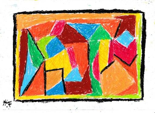 Harry BARTLETT FENNEY - Drawing-Watercolor - abstrait sur centre ville